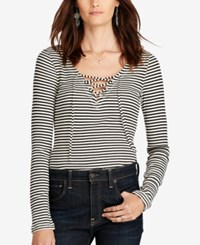 Denim And Supply Ralph Lauren Striped V Neck Lace Up Shirt