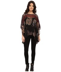 Double D Ranchwear Outpost Trading Poncho Top Multi Women's Blouse