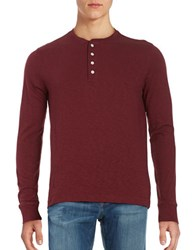 Brooks Brothers Cotton Long Sleeve Henley Tee Red