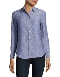 Lord And Taylor Petite Button Down Linen Shirt Blue