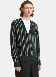 Ami Alexandre Mattiussi Striped Knit Cardigan Green