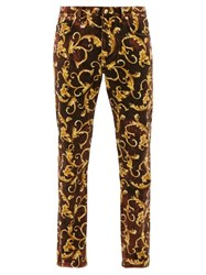 Versace Baroque Print Cotton Blend Jeans Brown Gold