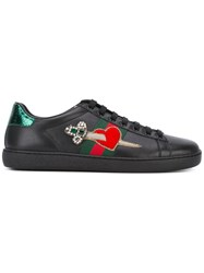 Gucci Ace Embroidered Low Top Sneakers Women Calf Leather Leather Rubber 36 Black