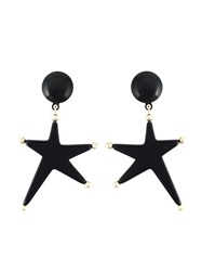 Marni Star Clip On Earrings Black
