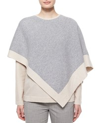 Two Tone Cashmere Poncho Silver Cream Silver Ivory Women's Shamask