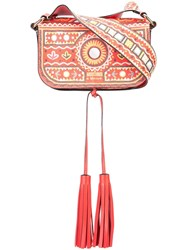 Moschino Mexican Embroidery Shoulder Bag Red