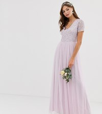Maya Bridesmaid V Neck Maxi Tulle Dress With Tonal Delicate Sequin In Soft Lilac Purple