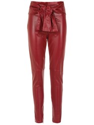 Andrea Bogosian Bow Leather Pants Red