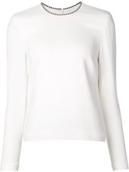Alexander Wang Embellished Collar Top White