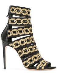 Casadei Chain Print Strapped Sandals Women Leather Nappa Leather 40 Black