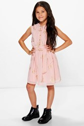 Boohoo Butterfly Print Chiffon Party Dress Blush