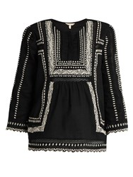 Rebecca Taylor Esme Embroidered Cotton Blouse Black Multi