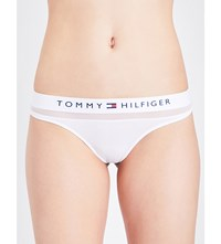 Tommy Hilfiger Mesh And Stretch Cotton Thong White