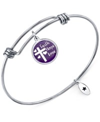 Unwritten 'Faith Hope Love' Adjustable Message Bangle Bracelet In Stainless Steel