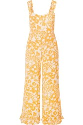 Faithfull The Brand Kasbah Ruffled Floral Print Voile Jumpsuit Yellow