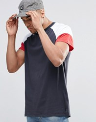 New Look T Shirt With Colour Block Sleeves In Navy Navy
