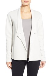 Women's Eileen Fisher Silk And Organic Cotton Knit Notch Collar Jacket