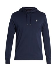 Polo Ralph Lauren Logo Embroidered Cotton Jersey Hooded Sweatshirt Navy