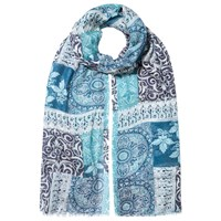 East Patchwork Printed Scarf Blue
