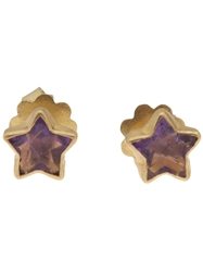 Marie Helene De Taillac Gold Star Earring Pink And Purple