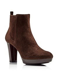Donald J Pliner Edina Suede Platform High Heel Booties Dark Brown
