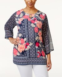 Jm Collection Woman Jm Collection Printed Keyhole Tunic Only At Macy's