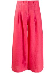 120 Lino Wide Leg Cropped Trousers Red