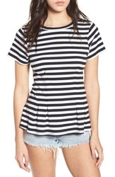 Love Fire Stripe Peplum Tee Black White Stripe