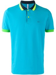 Sun 68 Contrast Polo Shirt Blue