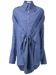 Fad Three Striped Front Knot Shirt Blue