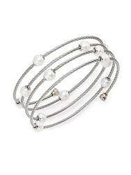 Alor Classique 1.6Mm White Round Freshwater Pearl 18K White Gold And Stainless Steel Bracelet White Gold Silver