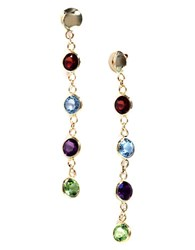 Effy Semi Precious Multi Stone And 14K Yellow Gold Drop Earrings Multicolor