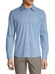 Hyden Yoo Checkered Cotton Button Down Shirt Blue