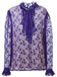 Guy Laroche Vintage Ruffled Lace Shirt Pink And Purple