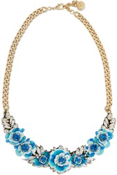 Shourouk Rosa Capri Gold Tone Crystal And Sequin Necklace Blue