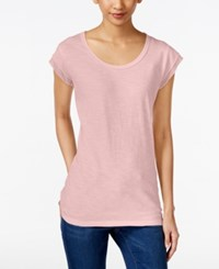 Style And Co Chiffon Trim T Shirt Only At Macy's Sea Lily