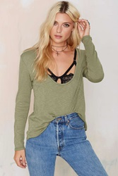 Nasty Gal New Low Waffle Top Olive