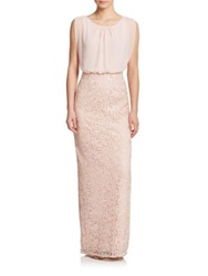 Aidan Mattox Lace And Chiffon Bridesmaid Gown Champagne Petal