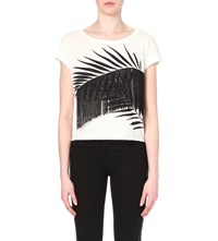Claudie Pierlot Tequila Fringed Jersey T Shirt Vanille