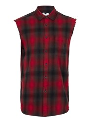 Topman Red Check Sleeveless Casual Shirt