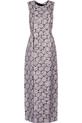 Suno Ruffled Silk Blend Jacquard And Metallic Brocade Gown Silver