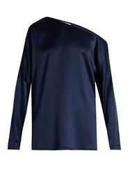 Tibi Asymmetric Silk Satin Top Navy