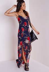 Missguided Chiffon Split Front Maxi Dress Navy Floral Blue