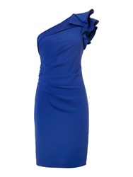 Js Collections One Shoulder Ruffle Dress Blue