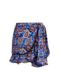 Dodo Bar Or Milo Paisley Print Mini Wrap Skirt Blue Print