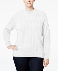 Karen Scott Plus Size Cable Knit Mock Neck Sweater Only At Macy's Bright White Marl