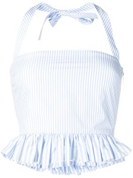 Red Valentino Striped Halter Top Blue