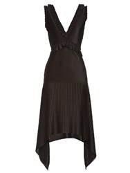 Givenchy V Neck Technical Pleated Jersey Dress Black