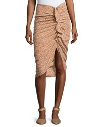 Veronica Beard Hazel Side Ruched Silk Ruffle Skirt White Pattern
