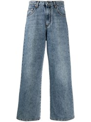 Msgm Cropped Distressed Jeans Blue